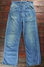 VTG 30s 40s LACE UP BUTTON FLY DENIM WORKWEAR FARM JEANS DUNGAREE PANTS W29 L31