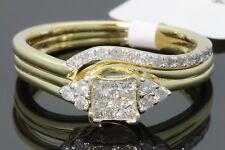 10K YELLOW GOLD .44 CT WOMEN REAL DIAMOND ENGAGEMENT RING WEDDING BAND RING SET