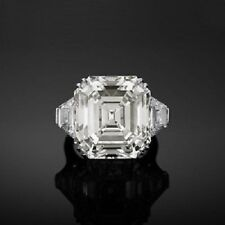 Ring 925 Silver Engagement Ring Gift 22Ct Three Stone Asscher Cut Cocktail Party