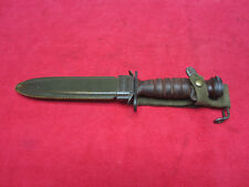 Norweigian M1-Carbine Leather Handle Bayonet and Scabbard