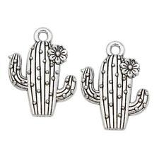 10pcs Antique Silver Cactus Charm Pendant Jewelry Making Bracelet Accessories