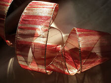 ✨❤️ Christmas Wide Sheer Red & Gold Organza Stripe Wire Edged Ribbon  1m ❤️ ✨