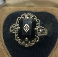 Vintage Sterling Silver Ring 925 Size 8.5 Cna Thailand Onyx Antique Style