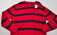 men's Chaps sweater size 2XL red navy stripe crew neck cotton long sleeve pullov