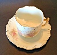 Oversized Moustache Cup And Saucer - Scalloped Rims - White With Purple Flowers