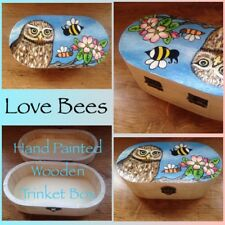 Love Bees Bee Wise & Grow (Little Owl/Apple Blossom) Medium Wooden Trinket Box