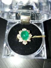 Women's 14kt Gold 1.2 Ct Diamond And 2 Ct Emerald Ring NIB size 6