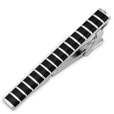 Mens Boys Skinny 4CM Black Silver Stripe Tie Clip Bar Stainless Steel Slim Clasp