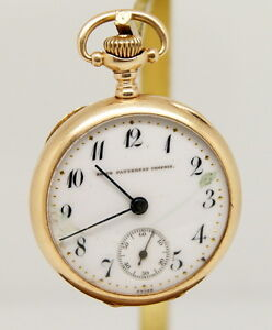 RARE Haas 14K Solid Gold Swiss Pocket Watch Private Label by Smith Patterson Co.