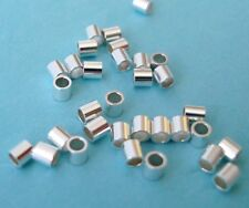 200pcs 2mm x 2mm solid 925 sterling silver crimp bead tube spacer bright F06s-2