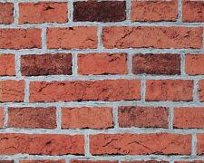 7798-16)  Naturstein Tapete Ziegel Mauer Steinmauer Klinker Rot Grau