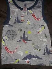 Mini Boden Boys 4/5 Rocket Shirt Gray Tank Top Planets Space Sleeveless Summer