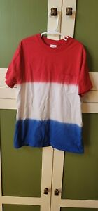 Hanna Andersson Boys Size 12 150 Cm Red Ombre Shirt Blue White