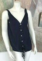 Banana Republic Womens Blue Floral Silk Button Down Blouse Top Shirt Size Small