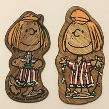 2 Vtg 1960's Peanuts Peppermint Patty Painted Wooden Hanging Christmas Ornaments