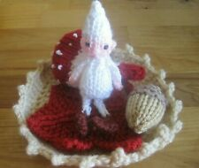 HAND KNITTED MAGICAL ENCHANTED FOREST ELF BABY. 4 INCHES TALL. 5 PC. SET.