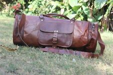 Men's genuine Leather large vintage duffle travel gym weekend overnight bag 24""
