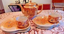 Peach lustre teapot & 2 cups 6 snack plates OK Japan luster ware swallows floral