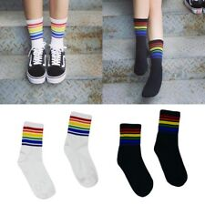 Women Harajuku Rainbow Striped Stockings Cool Skateborad Long Socks Ankle Socks