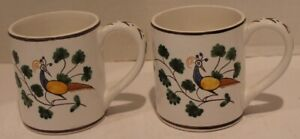 2 Conimbricer Winterthur Interpretation Coffee Mug Hand Painted Portugal-Peacock