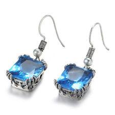 Xmas Gift New Arrival Titanic Ocean Blue Topaz Gems Silver Dangle Hook Earrings