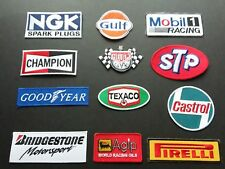 12 x MOTOR RACING MOTOR SPORT PIT CREW SEW / IRON ON PATCHES:- COLLECTION A