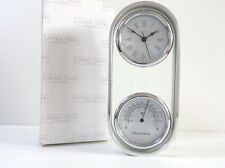 LONDON CLOCK COMPANY CHROME Glass QUARTZ MANTEL Desk CLOCK THERMOMETER