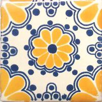 9 Ceramic Tile Handcrafted  Talavera Mexican Clay C220