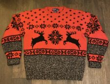 New listing Vintage Polo Ralph Lauren Wool Hand Knit Moose Reindeer Ski Sweater Size Large
