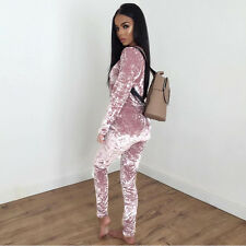 2pcs Women Crushed Velour Velvet Sweatshirt Jogger Gym Loungewear Tracksuit Set