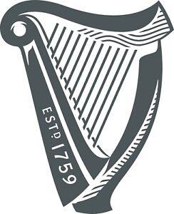 MEDIUM IRISH BEER IMAGE VINYL STICKER,DECOR, FOR WALL,GARDEN BAR, MAN CAVE 280mm