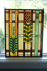 """Paul Sahlin Tiffany's Stained Glass Mission Square Window Panel 16""""x20"""" 1264S"""