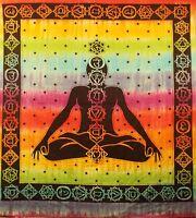 Seven Chakra Tapestry Tie Dye Bohemian Cotton Meditation Yoga Sheet 60 x 90 inch