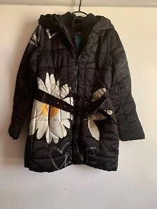 Desigual womens black jacket warm coat Size 40 bnwot