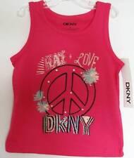 NWT=DKNY Sleeveless Pink Logo Shirt//Glitter Details-Sizes 4 Thru 6X--bin3**
