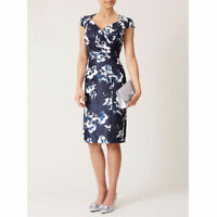 New Jacques Vert dress 14 16 Shantung Navy Blue Ivory floral Mock Wrap Pleated