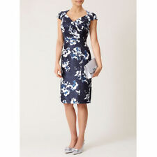 New Jacques Vert dress 14 16 Shantung Navy Blue Ivory floral Mock Wrap Ruched