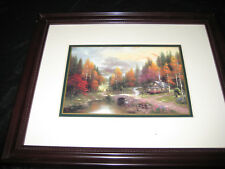 THOMAS KINKADE MATTED AND FRAMED ACCENT PRINT FALL MOUNTAIN SCENE