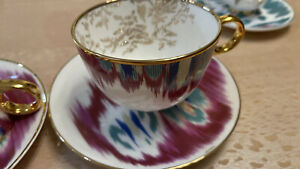 Hermes Red (Purple) Coffee Cup Saucer Voyage en Ikat.   Price is for One Set.