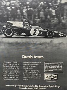 1971 Jacky Ickx Ferrari 312 Dutch Grand Prix Champion Original Print Ad 21x28cm
