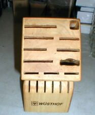 Wusthof 17 Slot Kitchen Chef's Knife Storage Block Solid Wood Wooden