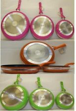 Non-Stick Frying 3 x Pans Made Of High Quality Alumimium Kitchen Set Heavy Gauge