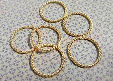 40 Ring Charms Shiny Gold Linking Rings Textured Pendants Large Jump Rings