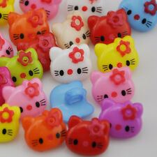 100Pcs Plastic Buttons Kitty Cat Children's Sewing Clothing Accessories PT45