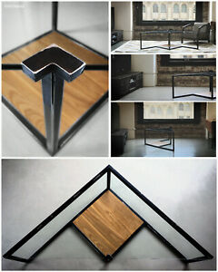 One of a kind Coffee Table Made Of Glass Wood and Distressed Black Steel Frame