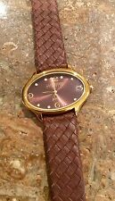 """""""JOAN RIVERS CLASSICS COLLECTION"""" BEAUTIFUL BROWN WOVEN LEATHER STRAP WATCH"""