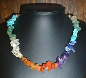 Chakra natural crystal Necklace pendant Vegan Balance quartz amethyst turquoise