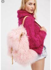 Free People Lux Dream Backpack Mongolian Fur Pink Sheepskin Shearling Totem Bag