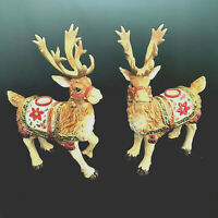 1Fritz Floyd Reindeer Taper Candle Holders Father Christmas Ceramic Retired Pair