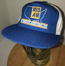 Vintage 80s USA MID AM Mid-American Dairymen INC Pinstripes Hat Cap Snapback WOW